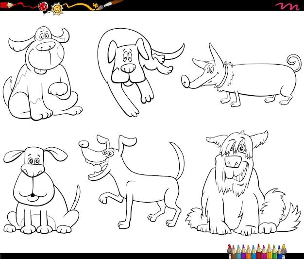 Dessin animé, chien, caractères, ensemble, livre coloration, page