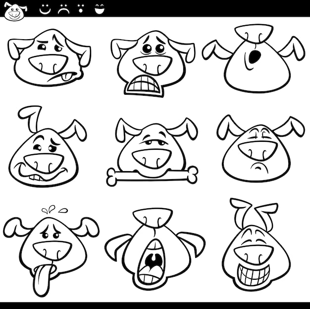 Dessin animé de chien émoticônes dessin animé