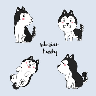 Dessin animé de chien husky sibérien dessiné à la main.