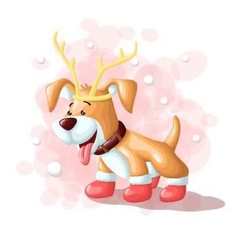 Dessin animé chien mignon joyeux noël eskimo illustration