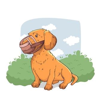 Dessin animé de chien muselé illustré