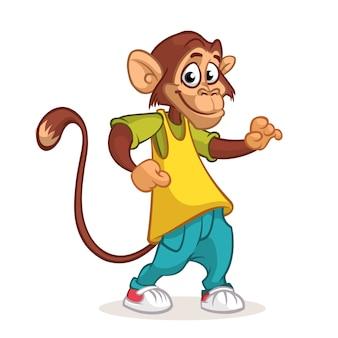Dessin animé chimpanzé dansant