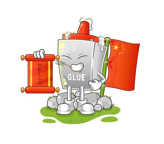 Le dessin animé chinois de colle. mascotte de dessin animé