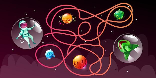 Dessin animé choisir le bon jeu éducatif de chemin pour les enfants dans le style de l'espace.