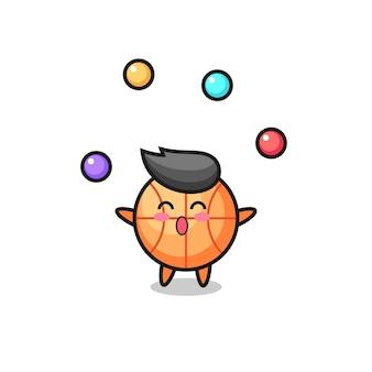 Le dessin animé de cirque de basket-ball jonglant avec une balle, un design de style mignon pour un t-shirt, un autocollant, un élément de logo