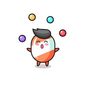 Le dessin animé de cirque de bonbons jonglant avec une balle, un design de style mignon pour un t-shirt, un autocollant, un élément de logo