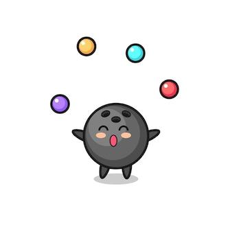 Le dessin animé de cirque de boule de bowling jonglant avec une balle, un design de style mignon pour un t-shirt, un autocollant, un élément de logo