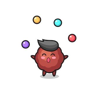 Le dessin animé de cirque de boulettes de viande jonglant avec une balle, un design de style mignon pour un t-shirt, un autocollant, un élément de logo