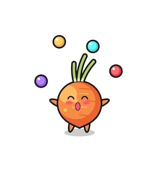 Le dessin animé de cirque de carotte jonglant avec une balle, un design de style mignon pour un t-shirt, un autocollant, un élément de logo