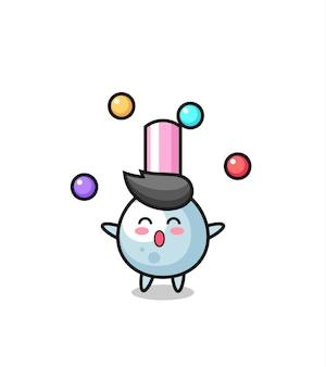 Le dessin animé de cirque de coton-tige jonglant avec une balle, un design de style mignon pour un t-shirt, un autocollant, un élément de logo