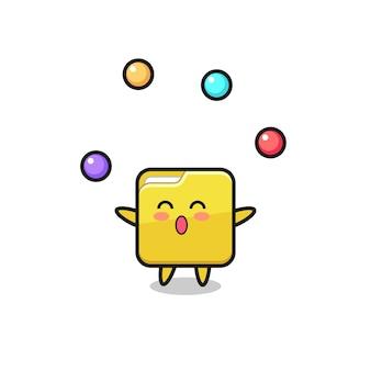 Le dessin animé de cirque de dossier jonglant avec une balle, un design de style mignon pour un t-shirt, un autocollant, un élément de logo