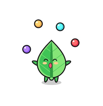 Le dessin animé de cirque de feuilles jonglant avec une balle, un design de style mignon pour un t-shirt, un autocollant, un élément de logo