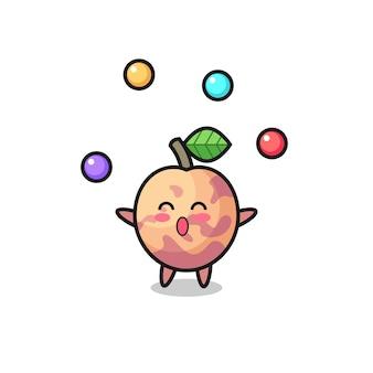 Le dessin animé de cirque de fruits pluot jonglant avec une balle, un design de style mignon pour un t-shirt, un autocollant, un élément de logo