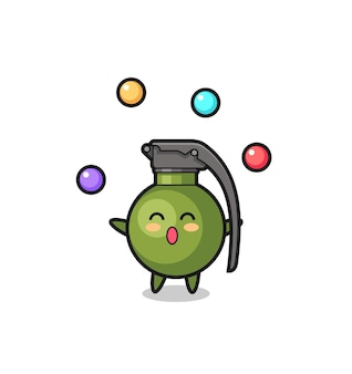 Le dessin animé de cirque de grenade jonglant avec une balle, un design de style mignon pour un t-shirt, un autocollant, un élément de logo