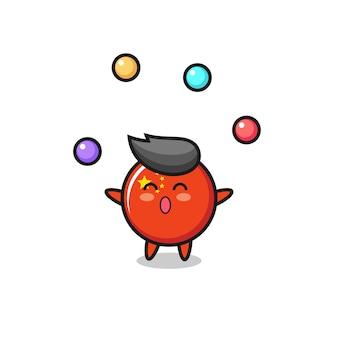 Le dessin animé de cirque d'insigne de drapeau de la chine jonglant avec une balle, un design de style mignon pour un t-shirt, un autocollant, un élément de logo