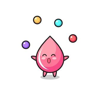 Le dessin animé de cirque de jus de goutte de fraise jonglant avec une balle, design de style mignon pour t-shirt, autocollant, élément de logo