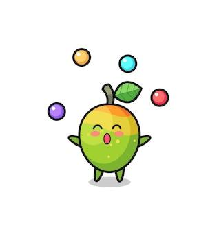 Le dessin animé de cirque de mangue jonglant avec une balle, un design de style mignon pour un t-shirt, un autocollant, un élément de logo