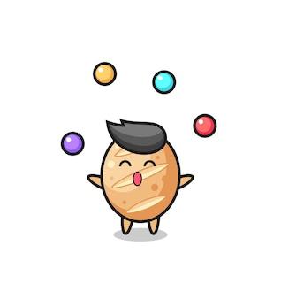Le dessin animé de cirque de pain français jonglant avec une balle, design mignon