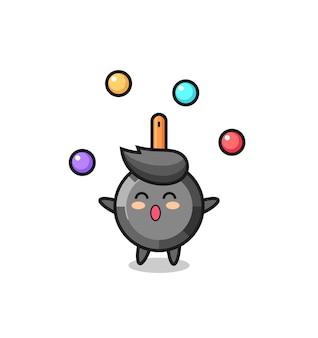 Le dessin animé de cirque de poêle à frire jonglant avec une balle, un design de style mignon pour un t-shirt, un autocollant, un élément de logo