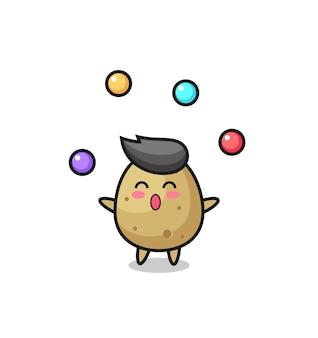 Le dessin animé de cirque de pommes de terre jonglant avec une balle, un design de style mignon pour un t-shirt, un autocollant, un élément de logo