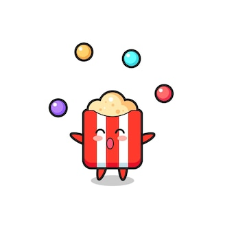 Le dessin animé de cirque pop-corn jonglant avec une balle, design de style mignon pour t-shirt, autocollant, élément de logo