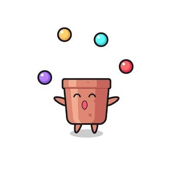 Le dessin animé de cirque de pot de fleurs jonglant avec une balle, un design de style mignon pour un t-shirt, un autocollant, un élément de logo