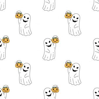 Dessin animé de citrouille halloween modèle sans couture fantôme effrayant