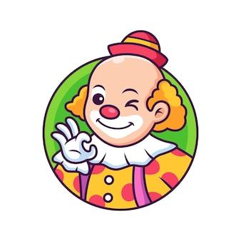 Dessin animé de clown avec une pose mignonne. icône illustration. concept d'icône de personne isolé