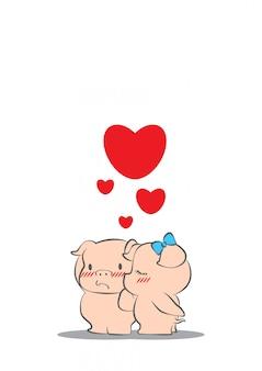 Dessin animé cochon d'amour