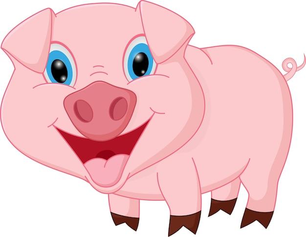 Dessin animé de cochon heureux