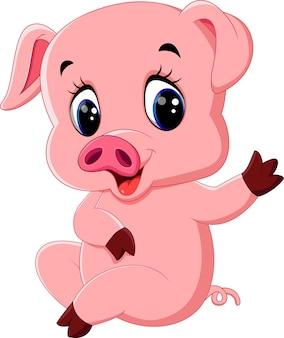 Dessin animé de cochon mignon posant