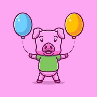 Dessin animé, cochon, porter, ballons
