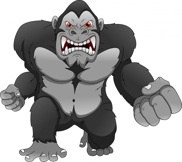 Dessin animé en colère de gorille