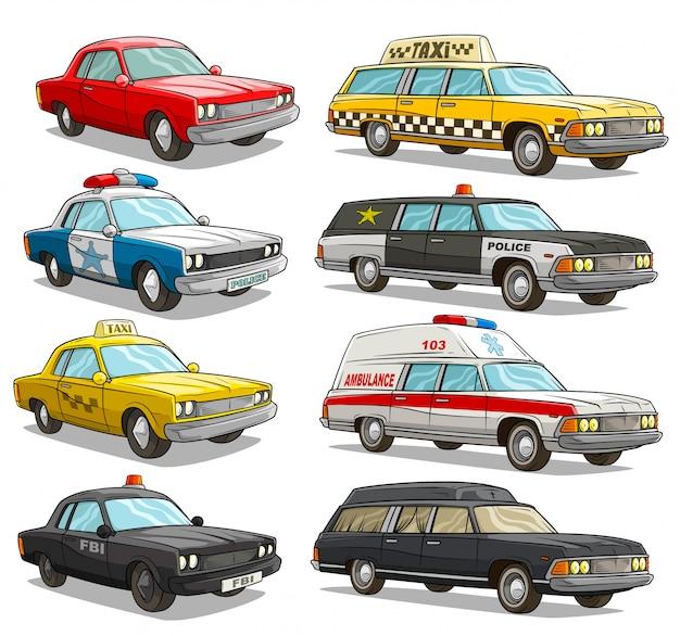 Dessin animé coloré américain vieux rétro différentes voitures