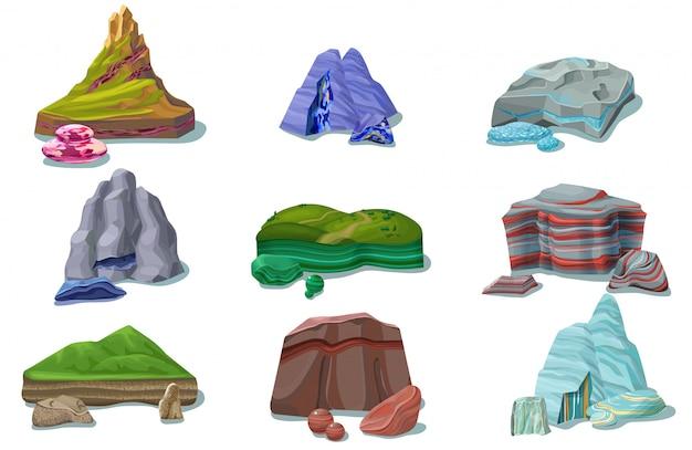 Dessin animé, coloré, beau, roches, ensemble