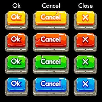 Dessin animé coloré boutons carrés en pierre pour le jeu