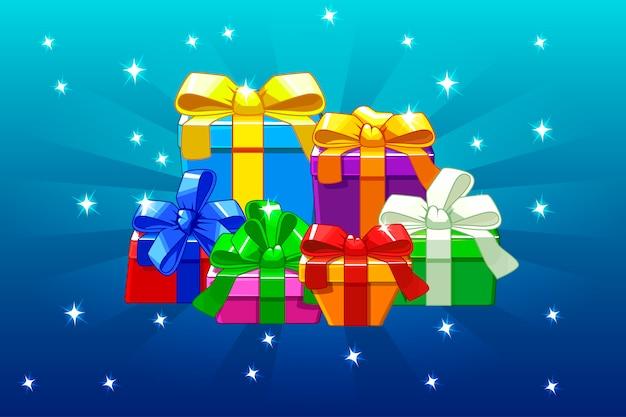 Dessin animé coloré différents cadeaux sur fond bleu, arrière-plan.
