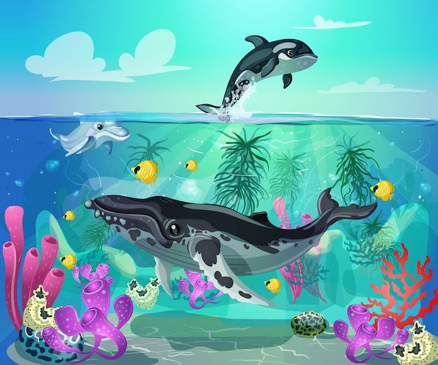 Dessin animé coloré fond de vie marine