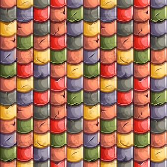 Dessin animé coloré vieilles tuiles de toit fond transparent