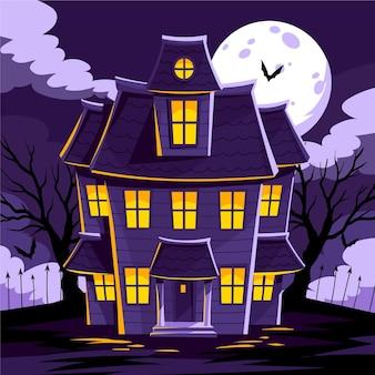 Dessin animé, conception, halloween, maison