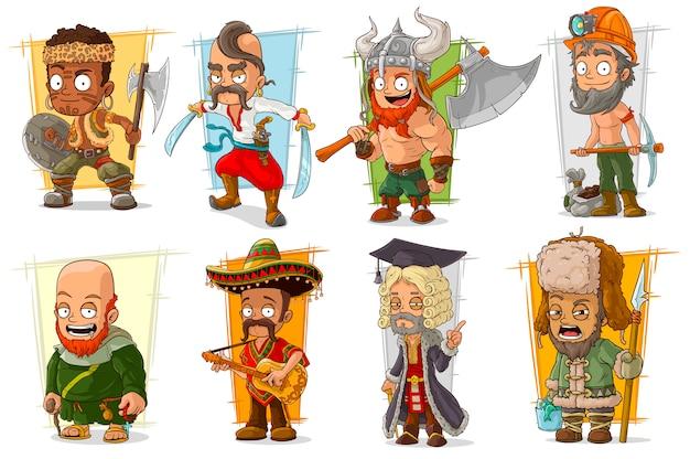 Dessin animé cool différents personnages drôles