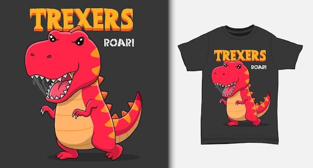 Dessin animé cool de dinosaure avec un design de tshirt
