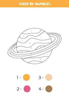 Dessin animé de couleur planète saturne en chiffres. jeu éducatif pour les enfants.