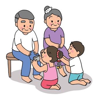 Dessin animé coupé festival de songkran thaïlande, grand-père et grand-mère et style thaï pour enfants.