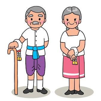 Dessin animé coupé festival de songkran thaïlande, style thaï grand-père et grand-mère.
