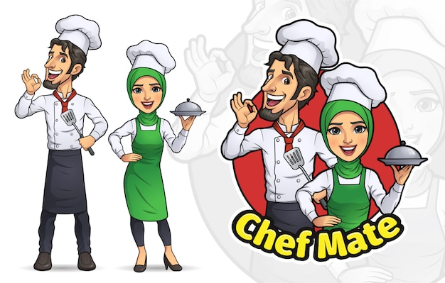 Dessin animé, couple, musulman, chef cuisinier