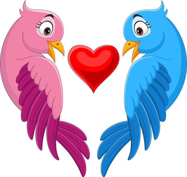 Dessin animé couple d'oiseau en rose et bleu avec forme de coeur