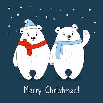 Dessin animé, couple, ours polaires, à, écharpe