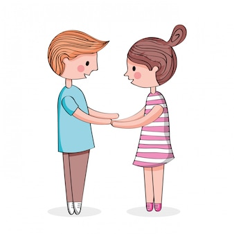 Dessin animé couple, tenant mains, dessin animé