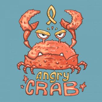 Dessin animé crabe en colère.